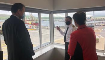 Minister Charlie McConalogue and Minister Norma Foley with the Dingle Harbour Master