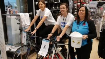 Penneys staff in Lettekenny cycle for charity ...at work!