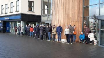 Morning queues for tickets for the Housemartins- Beautiful South stars for the Balor gig this April
