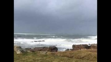 A wild and wintry day off the coast of Donegal with showers, hails and storms