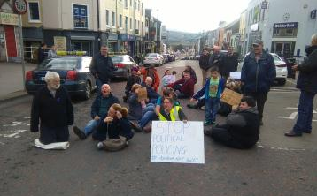 Sit-down protest on Letterkenny's Main Street this afternoon