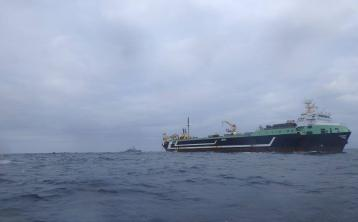 Irish navy inspect world's second largest trawler off the coast of Donegal