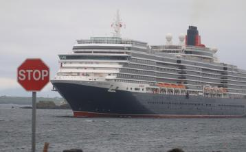 A warm Donegal welcome as the biggest ever liner to dock there, the Queen Victoria arrives in Kilybegs this morning