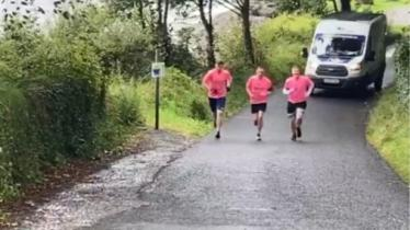 WATCH: Donegal businessmen 'Leg It For Livie' in 50km walk and cycle - look out for them on the road!