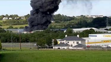 Watch: Major fire in Letterkenny sees plumes of black smoke