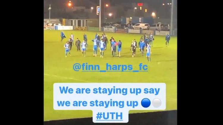 "WATCH: ""We are staying up"" - Jason Quigley's video as Finn Harps keep Premier Division status in last game"