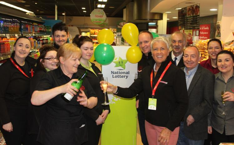Staff and customers are delighted with their Lotto luck.