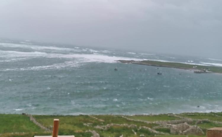 WATCH: Strong winds and rain batter Arranmore Island