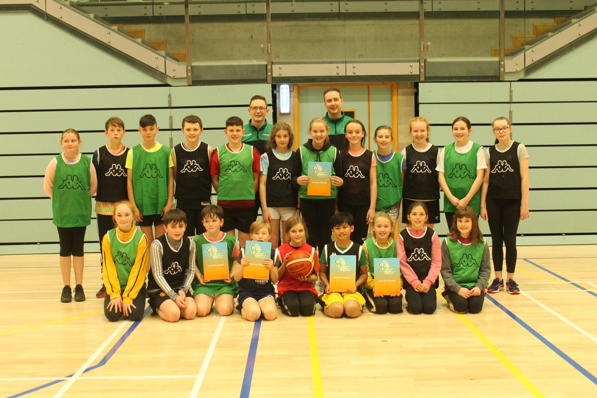 Children from local clubs and schools in Letterkenny in attendance at today's Green Shoots launch with Basketball Ireland Development Officers, Paul Carr and Niall McDermott.