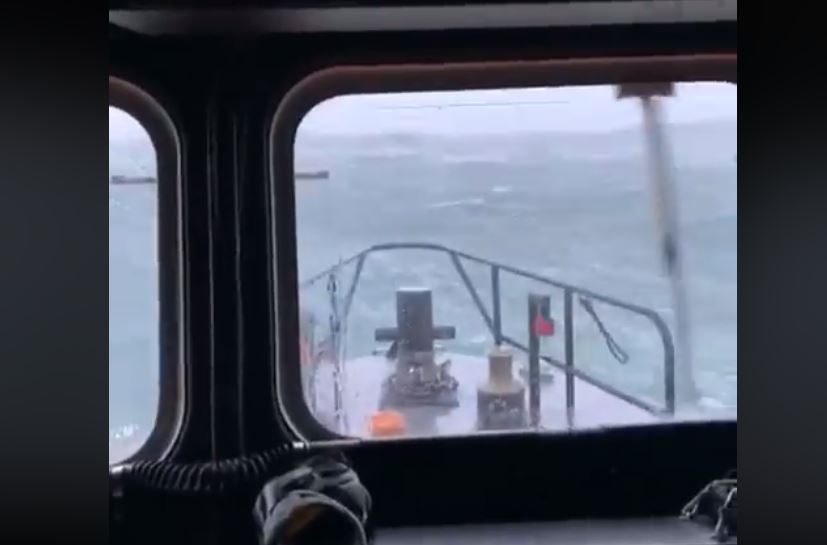 Another view of the storm seas from the bridge of the Portrush lifeboat