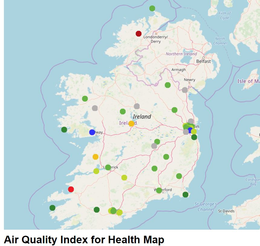 The EPA's map of air quality monitoring stations