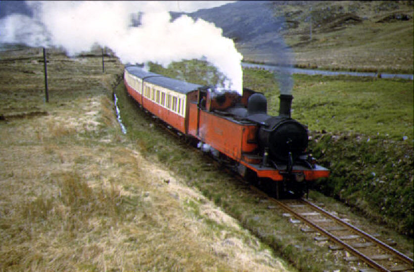 Steam locomotive Blanche hauling a train through Barnesmore Gap in 1956. Photo: Donegal Railway Heritage Museum