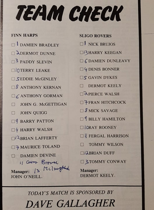 The teams from a match programme for a Finn Harps - Sligo Rovers game back in 1990