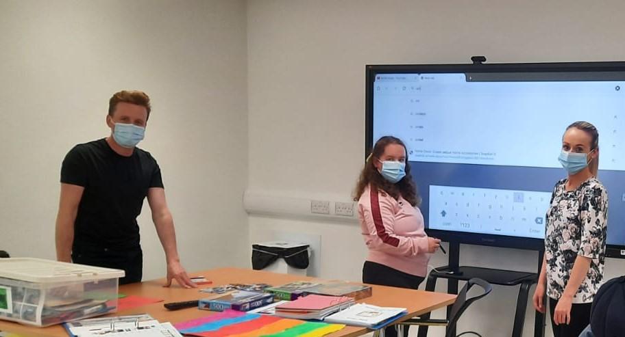 Left to right - Andrew Gillespie (Program Coordinator),  Marie O'Kane (Service User) and Shauna McLaughlin (Community Access Facilitator)